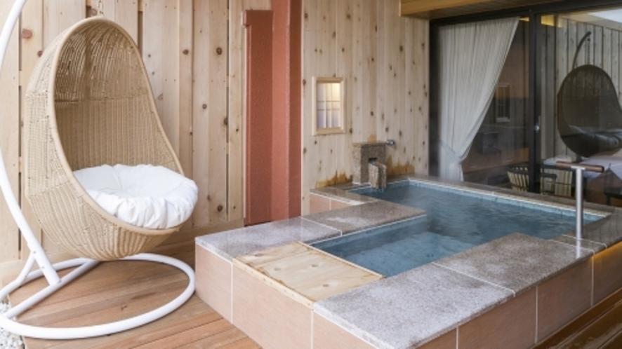 【客室一例】<別邸うらら>スタンダード和洋室6畳(足湯付きタイプ)/100%源泉掛け流し客室露天風呂