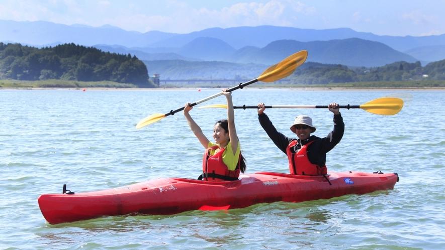【周辺観光】御所湖でカヌー体験♪指導員が基本を教えてくれるので初心者でも安心です。