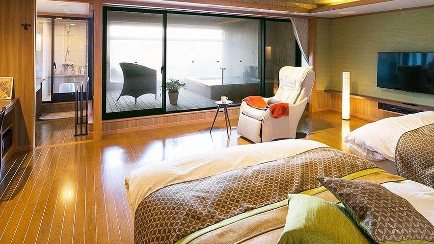 【客室一例】<別邸うらら>露天風呂付客室 スイート「宙」/ベッドスペース