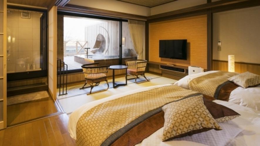【客室一例】<別邸うらら>スタンダード和洋室6畳(足湯付きタイプ)/ベッドスペース