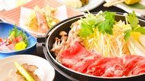 【上州牛すき焼き】やわらかな上州牛と野菜や豆腐など地元食材を味わうすき焼き。
