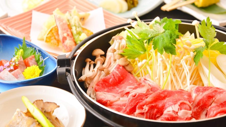 【上州牛すき焼き】やわらかな上州牛と野菜や豆腐など地元食材を味わうすき焼き