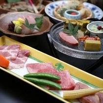 岐阜県産の3種のお肉の陶板焼付き会席(一例)
