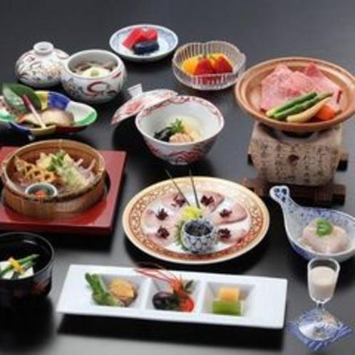 飛騨牛料理付きの会席料理(一例)