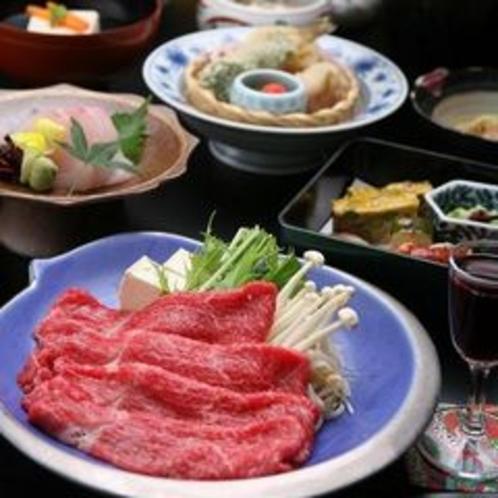 飛騨牛のミニしゃぶしゃぶ付きの会席料理(一例)