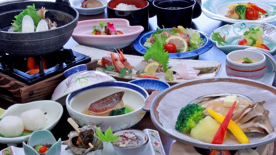 アワビ陶板蒸し付、季節の海鮮和食膳