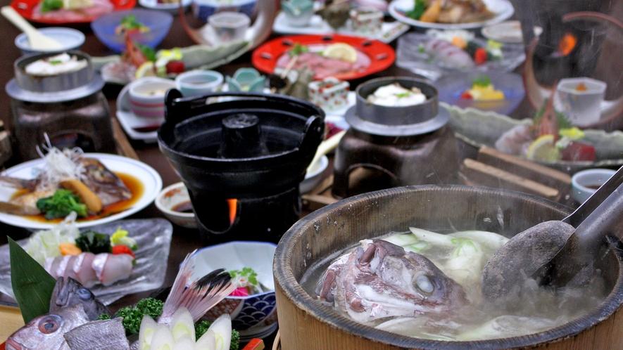 ~鯛まつり~男鹿名物「石焼料理」付、季節の海鮮和食膳 ※2人前イメージ