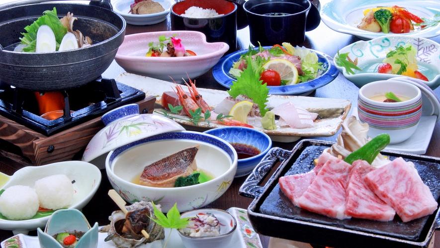 秋田錦牛ステーキ付季節の海鮮和食膳