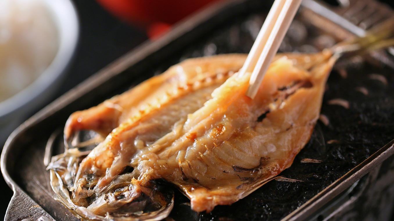 【ご朝食】駿河湾名物!焼きたてのアジの干物。