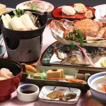 献立一例。※姫鱒と毛ガニときりたんぽ鍋の例