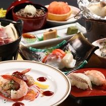 和食膳の献立の一例です。青森と秋田の県境の味覚をご賞味ください。