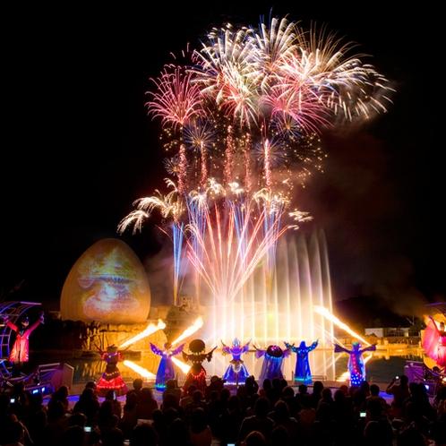【ラグナシア】ルナポルトやプールサイドから花火や噴水ショーをお楽しみいただけます!(プール別途有料)